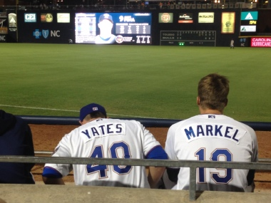 Durham Bulls relievers Kirby Yates and Parker Markel