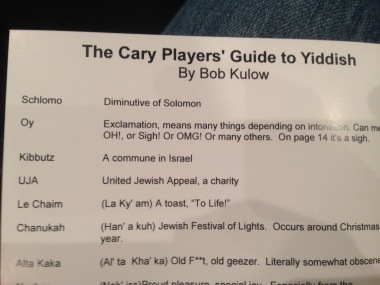 "The program for the Cary Players production of ""Isn't It Romatic"" by Wendy Wasserstein includes a guide to the Yiddish expressions and other language used by the characters."