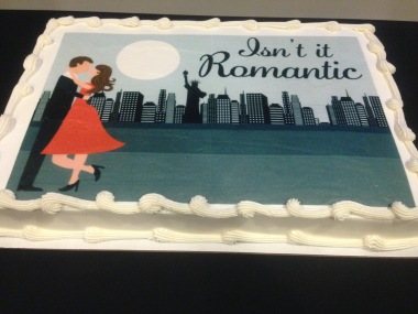 "This cake was displayed in the lobby of the Cary Arts Center during the premier of the Cary Players production of ""Isn't It Romantic"" by Wendy Wasserstein on Friday, Sept. 18, 2015."