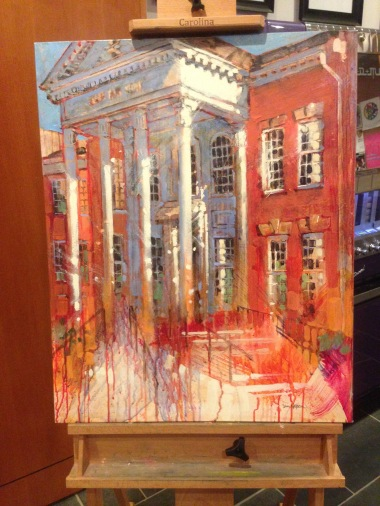"""Cary Arts Center"" painted by Dan Nelson in May 2015. The artwork, which is currently on display in the lobby of the building it depicts, will be auctioned off to benefit a fund for recreational scholarships in the town of Cary, N.C."