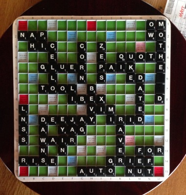 March 17, 2013, Scrabble game final board