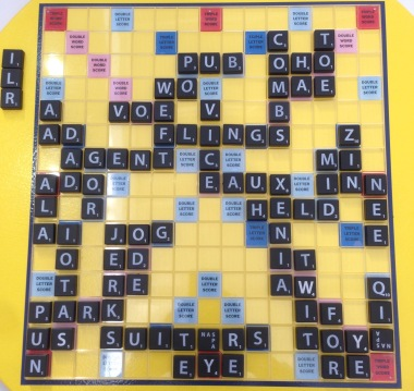 Final board, game 8, April 2, 2016, Scrabble tournament