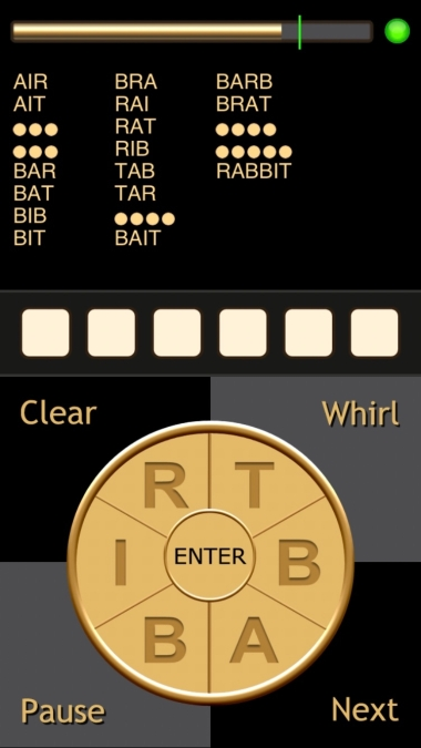 A screen shot of Whirly Word.