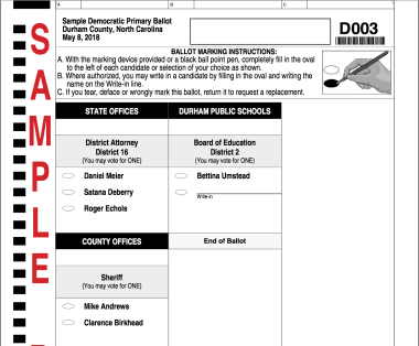 May 8, 2018, sample ballot